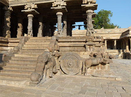 Chariot drawn by horse and a stairway flanked by elephants