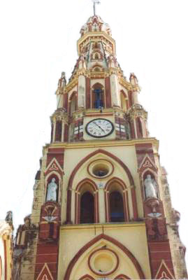 An old french-built church with a grand bell tower,housing giant bells